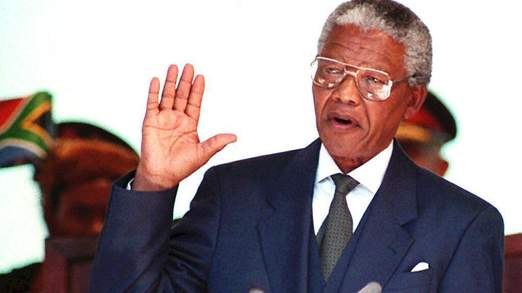 South African President  Nelson Mandela takes the oath